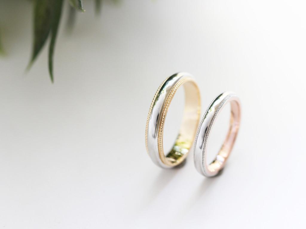 手作り結婚指輪コンビカラーリング2
